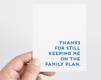 Family Plan | Funny Card For Parents | Funny Mothers Day | Funny Fathers Day | Parent Birthday Card | Funny Thank You Card For Parents