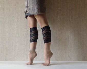 Black Lace Boot Cuffs Lace Toppers Cute Socks Women Black Women Boot Socks Gift for Her Shoe Accessories Boot gaiters Lace boot bufers C5016
