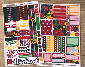 Mulberry Blossom Mini Planner Sticker Set - Erin Condren Planner Stickers, Personal Planner Stickers, Kikki, Filofax, Day Planner, Checklist