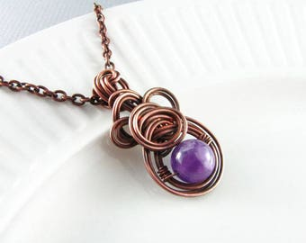 Amethyst Necklace Wire Wrapped Jewelry Copper Jewelry Wire Wrap Pendant Copper Necklace Wire Wrap Necklace Copper Wire Wrap Boho Necklace