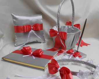 Wedding Silver Coral Flower Girl Basket Halo Ring Bearer Pillow Guest Book Pen Set Your Colors