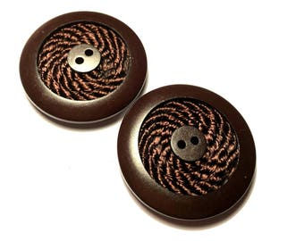 Brown wooden buttons with thread, 2 holes, 2 pcs