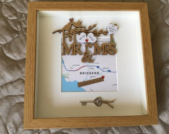 Wedding day gift, Wedding gift, Map gift, Mr/Mrs gift, Bride/Groom gift, personalised scrabble frame,  Picture, Wall Art.