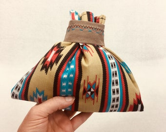 Father's Day Gift, Jewelry Gift Bag, Native American Design Bag, Mother's Day Gift, Fabric Gift Bag, Southwest Design, 8.5 x 7, Upcycled