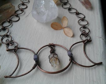 Moon Phase/Found Quartz Point/Statement Necklace/Divine Feminine/Antiqued Copper/Wire Wrapped/Forged/Crystal Jewelry/Rockhound/Reiki