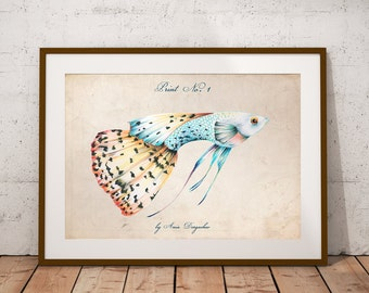 Fish print, Sea print, Sea decor, Wall art, Sea wall art, Ocean print, Ocean art, Sea life decor, Nature illustration, Nautical decor, Sea