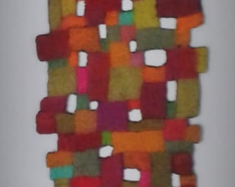 Multicoloured felt slabs table runner/ wall hanging.