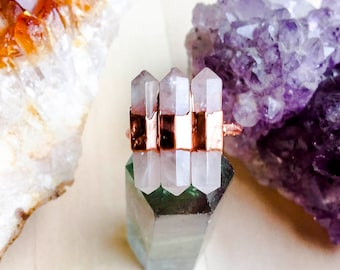 Ocean Heart Rose Quartz Ring Size 7