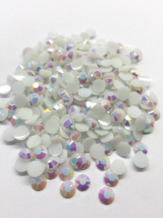 White AB Flat Back Round Resin Rhinestones Embellishment Gems C61