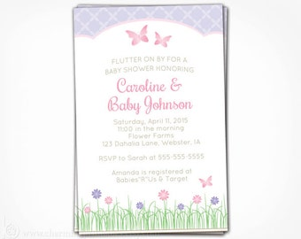Butterfly Baby Shower Invitation - Printable Butterfly Invite - Pink and Purple Girl Spring Flower Garden Baby Shower
