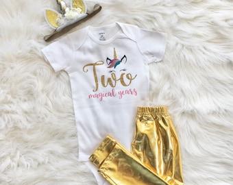 Unicorn 2cd Birthday, Second Birthday Outfit, Baby Girl,Birthday Outfit, Unicorn,Two Magical Years, Second Birthday, Birthday, Birthday Girl