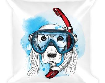 Scuba diver dog illustration on a square pillow