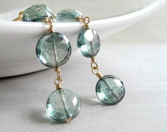 Green Quartz Earrings, Faceted Mystic Green Quartz Coin Earrings, Gold Filled Dangle Earrings, Quartz Jewelry, Gold Filled Dangle Earrings