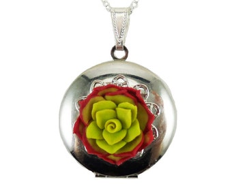 Red  Succulent Locket Necklace - Red Succulent Jewelry