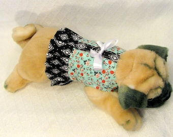 Beautiful Teal and Black Dog Harness Dress Size XXSmall Teacup