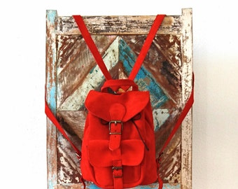 Red Leather Backpack, Leather Bag, Suede Rucksack, Suede Backpack,  Women Red backpack purse