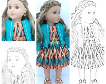 Twenty 20 Coloring Pages American Girl Doll PRINTED PACKET