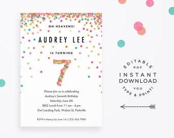 girls 3rd birthday invitation instant download printable pdf