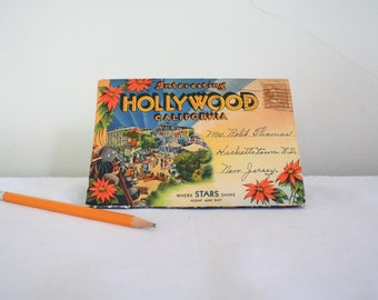 1939 Hollywood, CA Fold Out Postcard