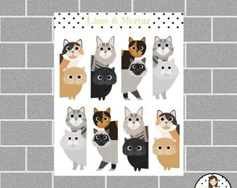 Peek A Boo CAT Planner Stickers