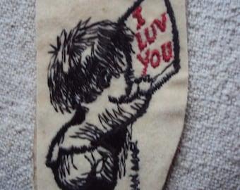 vintage 70s Groovy Fran Mar Felt Sew On Patch I Luv You