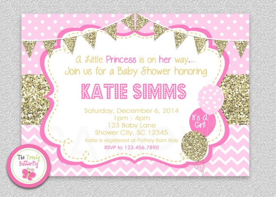 Pink and gold baby shower invitation chevron baby girl like this item filmwisefo Choice Image