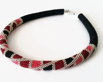 Red Black Rope - Geometric Necklace  - Crochet Necklace - Gift - Jewellery - Beaded Rope Necklace - Rope Necklace - Seed Bead Necklace