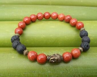 Mens bracelet, Men's bracelet, Man's bracelet, Lava rock bracelet, Buddha Bracelet, gift, for him, Tiger eye bracelet, Buddha's head