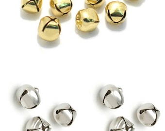 10 x Jingle Bells 12mm Small or 20mm Large Gold or Silver