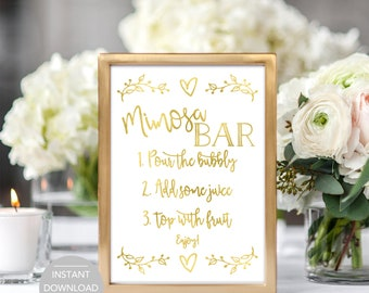 Mimosa Bar Sign, Bridal Shower Mimosa Bar Sign, Baby Shower Mimosa Bar Sign, Printable Mimosa Bar Sign, Mimosa Bar Instant Download