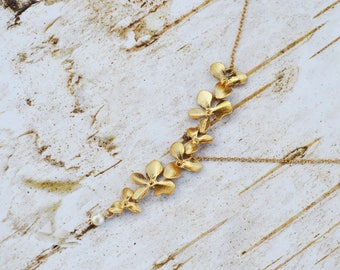 SALE - Gold Necklace, Orchid Necklace, Flower Necklace, Wedding, Bridesmaid gifts, Gold Pearl Necklace, Bridesmaid Jewelry