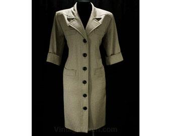 Size 6 YSL Dress - Khaki Tan Gabardine 80s Shirt-Dress - 1980s Yves Saint Laurent - Short Sleeved Tailored Safari Chic - Bust 40 - 48316