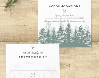 Forest Rustic sage wedding invitation suite, custom monogram, pine trees; SAMPLE ONLY