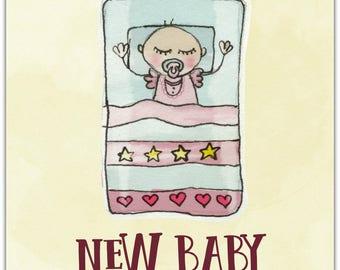 Double 'New Baby' original design handmade 15cm x 15cm