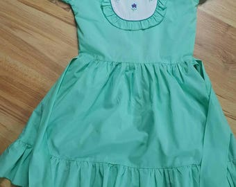 Sale - 20% off - Baby Dress - Baby Girl Clothes - Embroidered dress - green dress
