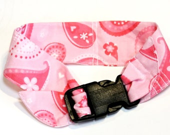 Dog Cooler Collar Bandana, Neck Cooling Band, Fabric Stay Cool Wrap Collar Buckle Adjustable Size Small 10 - 14 inch, Pink Paisley iycbrand