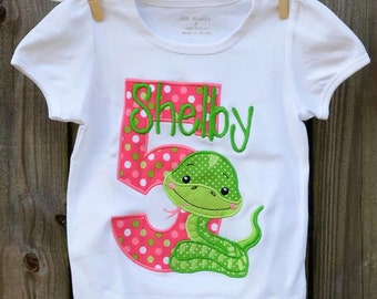 Personalized Birthday Snake Applique Shirt or Bodysuit Girl or Boy