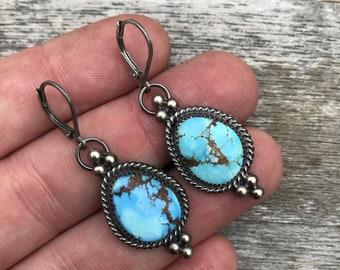 Golden Hills Lavender Turquoise from Kazakhstan Dangle Earrings