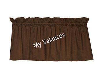Solid Brown window curtain valance.  Kids boys girls room kitchen bathroom bedroom topper LINING option