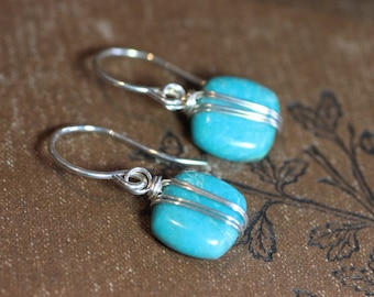 Turquoise Earrings Silver Wire Wrapped Gemstone Earrings Blue Earrings