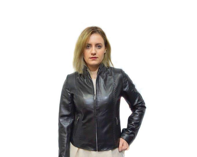 Black Leather Moto Jacket F840
