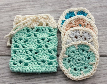 Crochet Bath Set - Crochet Soap Saver and Face Scrubby Set - 100% Cotton Spa Gift Set - Gift Set of Soap Saver and Reusable Cotton Scrubbies