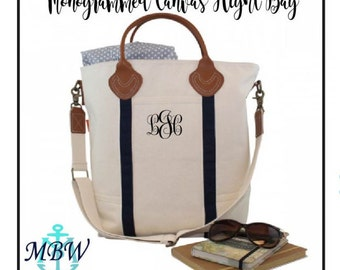 Monogrammed Canvas Tote, Monogrammed Laptop Bag, Canvas and Leather Tote Bag, Travel Tote, Laptop Bag, Monogrammed Travel Tote - CB01