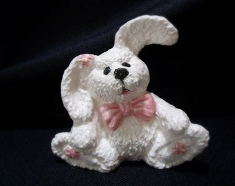 Adorable Bunny Figurine Set with Pink Highlights - Set of Three (3)