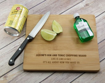 Personalised G&T Chopping Board - Gin and Tonic Chopping Board - Gin Gift - Gin and Tonic Gift - Gin Lovers Gift - Gin Chopping