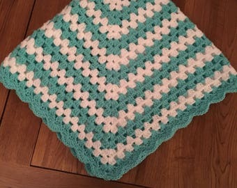 Ready to ship Beautiful handmade crochet Granny square, baby shower gift. baptism