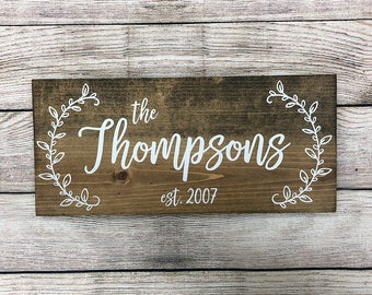 "Personalized Rustic Hand Painted Wood Sign, Family Name Sign, Established Date Sign, Last Name Sign - 16""x7.25"" or 20""x9.25"""