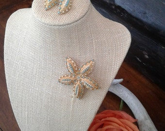 Delicate Sara Coventry Brooch and Earing Set