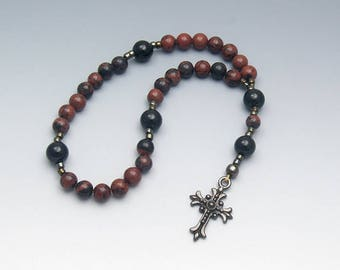 Prayer Beads - Masculine Mahogany Obsidian - Men's Rosary Beads - Lent Gifts For Him - Item # 724