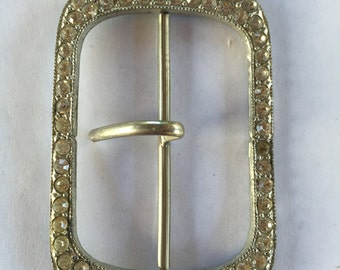 Vintage Art Deco Clear Rhinestone Buckle Closure Accent piece